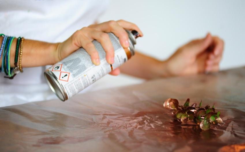 Pacchetto di Natale: la vernice spray sul rametto