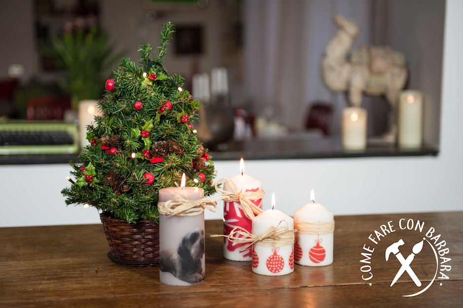 Decorare Candele Natale : Candele natalizie decorate fai da te come fare con barbara il