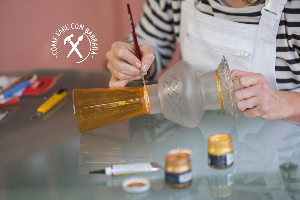 Portacandele fai da te: pittura oro acrilico